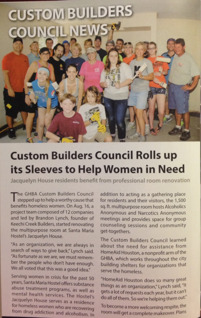 The GHBA Custom Builders Council stepped up to help a worthy casuse that